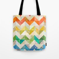 quilt Tote Bags featuring Chevron Rainbow Quilt by Rachel Caldwell
