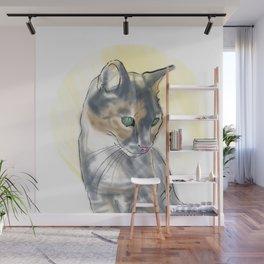 Green Eyed Cat Wall Mural