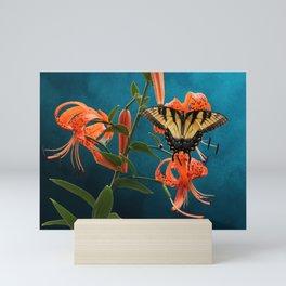 Eastern Tiger Swallowtail Butterfly On Orange Tiger Lily Mini Art Print