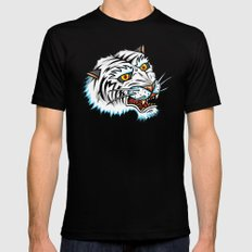 Traditional White Bengal Tiger Mens Fitted Tee Black MEDIUM