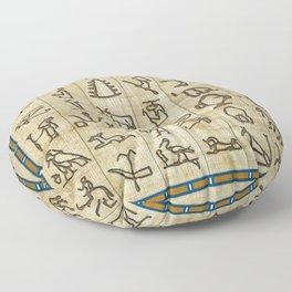 Ancient Egyptian Hieroglyphs on Papyrus Floor Pillow