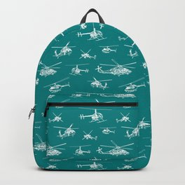 Helicopters on Teal Backpack