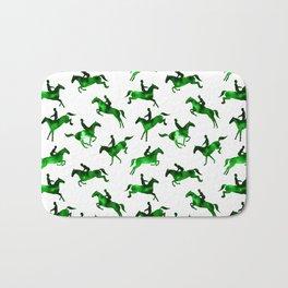 Watercolor Showjumping Horses (Green) Bath Mat