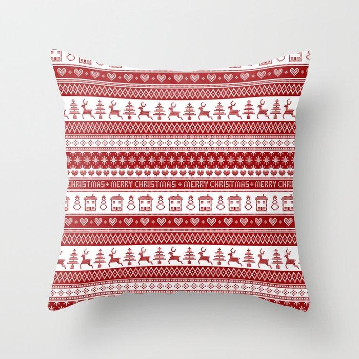 Nordic fair isle Christmas pattern Throw Pillow by gaynorcarradice ...