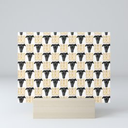 Black Greyhound Faces & Decorative Butterfly Patterns Mini Art Print