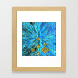 Blue Aqua Turquoise And Gold Glitter Mermaid Scales -Beautiful Mermaidscales Pattern Framed Art Print
