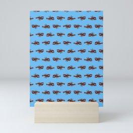 lobster print on blue Mini Art Print
