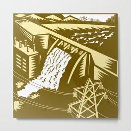 Hydroelectric Hydro Energy Dam Woodcut Metal Print