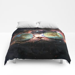 Cool Space Cat with Telescope Glasses in space Comforters