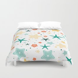 Seastars Pattern - Teal Duvet Cover