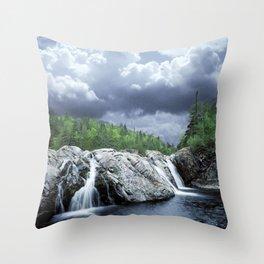 Falls at the Aguasabon River Mouth in Ontario Canada Throw Pillow