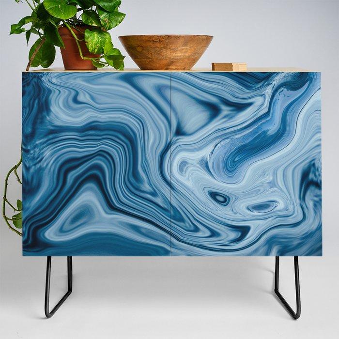 Splash of Blue Swirls, Digital Fluid Art Graphic Design Credenza