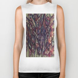 Watercolor Abstract Purple Flower Painting Biker Tank