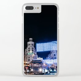 Gran Via Street at Night Clear iPhone Case