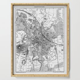 Vintage Map of Hanover Germany (1895) BW Serving Tray