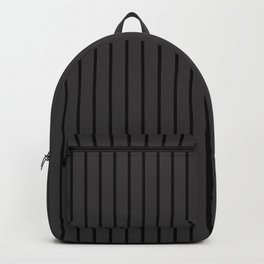 Black on Dark Grey Pinstripes | Vertical Thin Pinstripes | Backpack