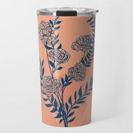 Blue peach peony floral design Travel Mug