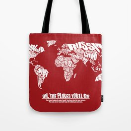 Oh The Places You'll Go - World Word Map with Dr. Seuss Quote Tote Bag