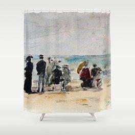 12,000pixel-500dpi - Eugene Louis Boudin - Trouville - Digital Remastered Edition Shower Curtain