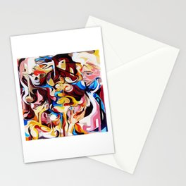 Expressive Abstract People Composition painting Stationery Cards