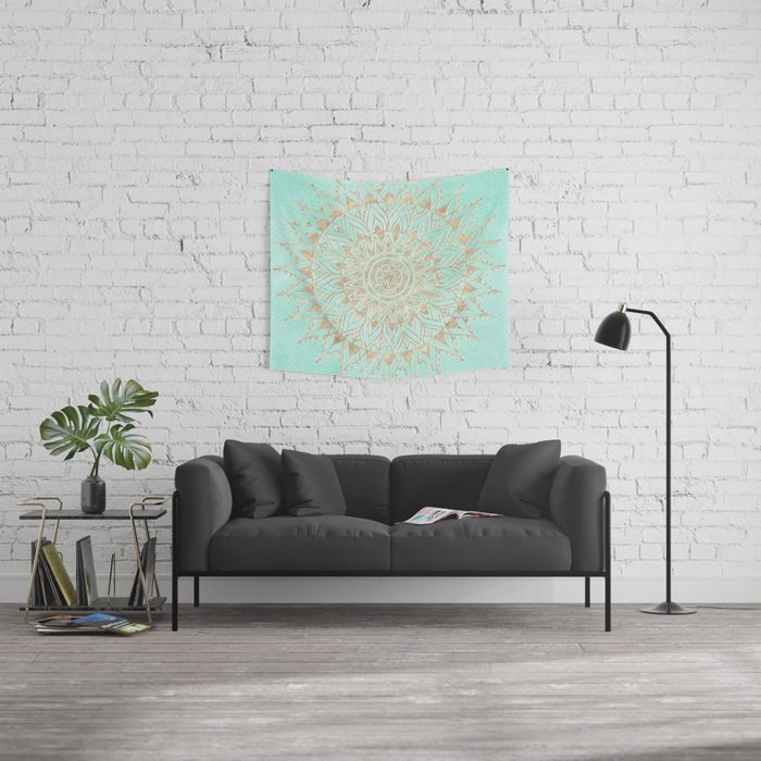 Mint and gold mandala Wall Tapestry