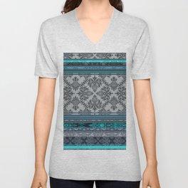 Teal, Aqua & Grey Vintage Bohemian Wallpaper Stripes Unisex V-Neck