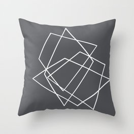 Grey and White abstract geometric Throw Pillow