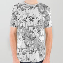 just goats black white All Over Graphic Tee
