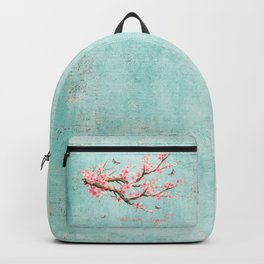 Its All Over Again - Romantic Spring Cherry Blossom Butterfly Illustration on Teal Watercolor Backpack