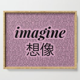 imagine - Ariana - lyrics - imagination - pink black Serving Tray