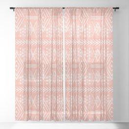 vintage moroccan - coral Sheer Curtain