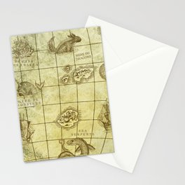 Here Be Monsters Map Stationery Cards