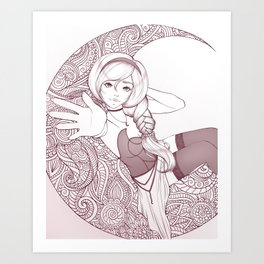 Moon Witch Drawing Art Print