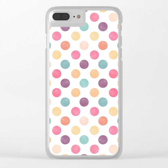 Watercolor Dots Pattern Clear iPhone Case