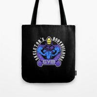 gym Tote Bags featuring Skeletor's gym by Buby87