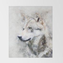 Watercolour grey wolf portrait Throw Blanket