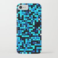 pixel iPhone & iPod Cases featuring Turquoise Blue Aqua Black Pixels by 2sweet4words Designs