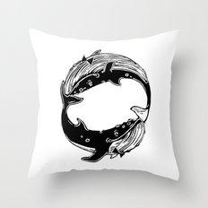 Having Fun (Whales) Throw Pillow