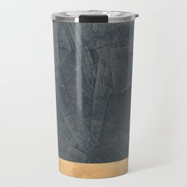 Slate Gray Stucco w Shiny Copper Metallic Trim - Faux Finishes - Rustic Glam - Corbin Henry Travel Mug