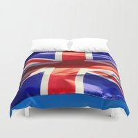 england Duvet Covers featuring England Flag by Fine2art