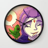 teen titans Wall Clocks featuring Teen Titans BBRae: Bird Talk by samarasketch