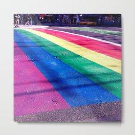Rainbow Crosswalk Metal Print