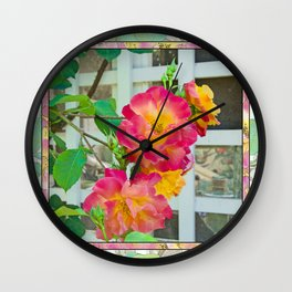 TROPICANA ROSE ON WHITE LATTICE Wall Clock