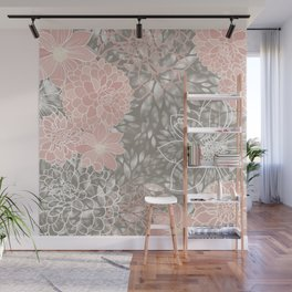Floral Pattern Dahlias, Blush Pink, Gray, White Wall Mural
