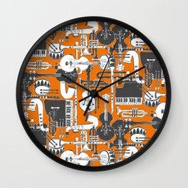 weave jazz orange Wall Clock