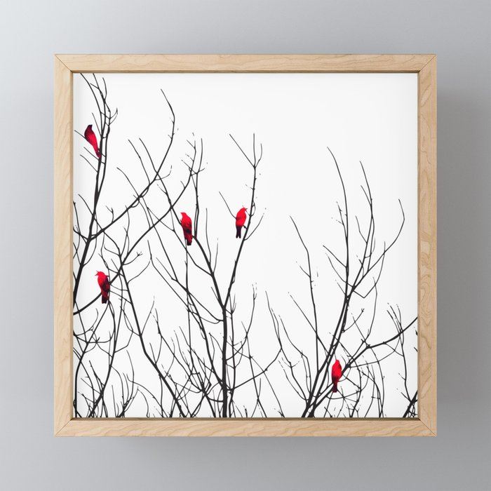 Artistic Bright Red Birds on Tree Branches Framed Mini Art Print
