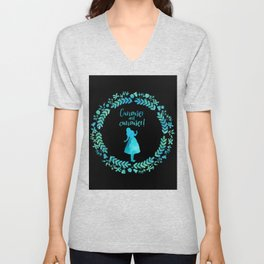 Curiouser and curiouser! Alice in Wonderland. Unisex V-Neck