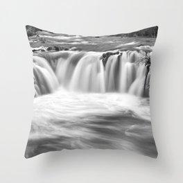 Steelhead Falls, Dream, Deschutes River, Black And White, Throw Pillow