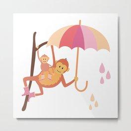 Monkeys in Rain Boots | Pink, Peach and Orange Metal Print
