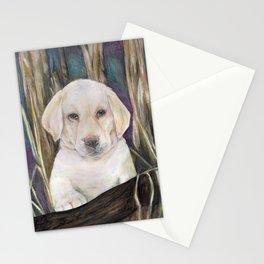 Labrador retriever white puppy in forest original art print Stationery Cards